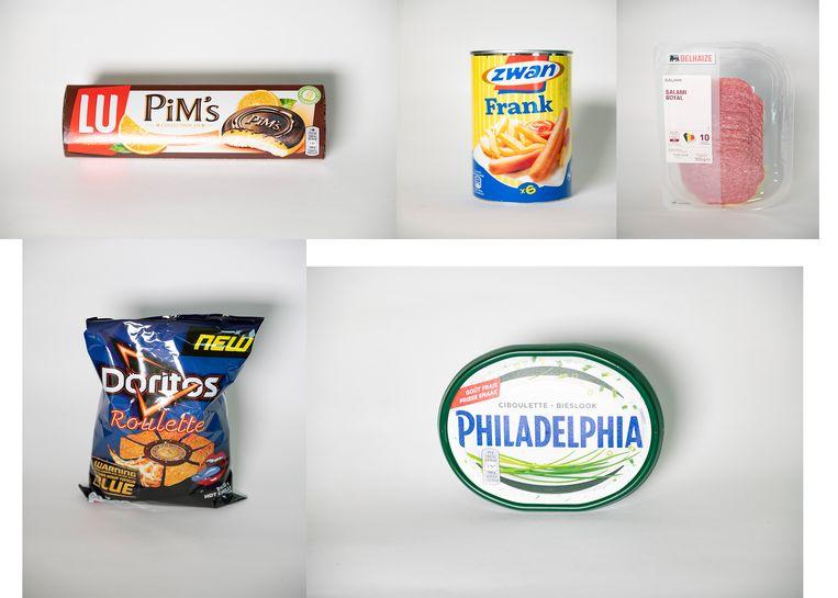 Slecht beoordeeld: Pim's Orange, Zwanworsten, Delhaize Salami, Doritos Roulette en Philadelphia met bieslook.