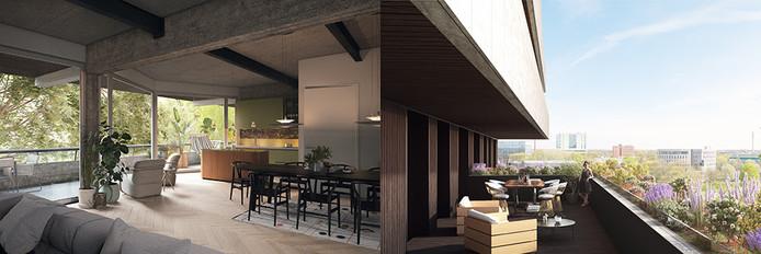 Impressie van een van de appartementen in de BunkerToren aan de Kennedylaan in Eindhoven.