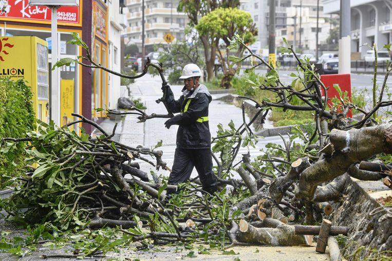 Een gemeentewerker snoeit een omgewaaide boom in Okinawa.