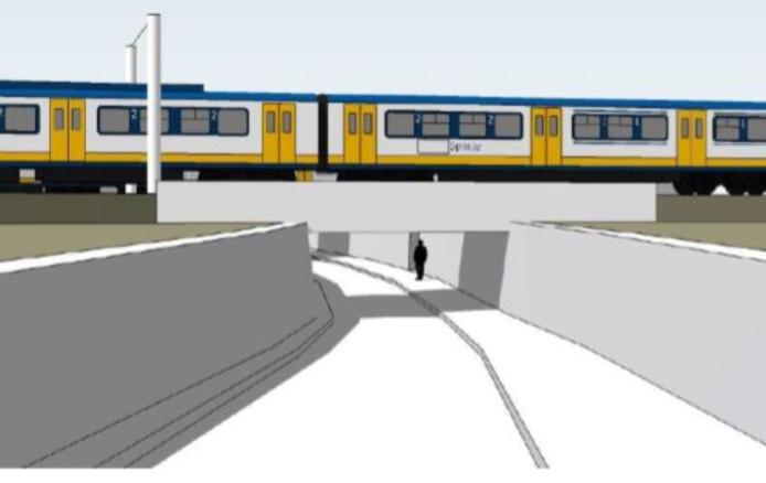 Impressie van de nieuwe fietstunnel onder het spoor in de Tongeresestraat in Boxtel.