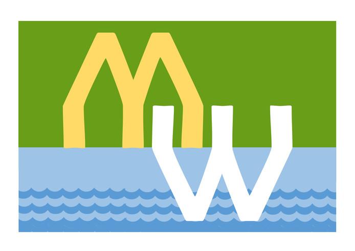 Een van de drie  genomineerde ontwerpen voor de vlag voor het Land van Maas en Waal.