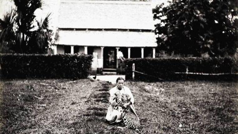 Boeroe-mevrouw Van Brussel rond 1895 met een jonge jaguar voor de boerderij Sympathie in Suriname. (FOTO JULIUS E. MULLER, COLLECTIE TROPENMUSEUM AMSTERDAM) Beeld