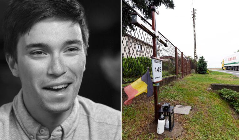 Vorig jaar kwam Bjorg Lambrecht ongelukkig ten val tijdens de ronde van Polen. De gedenkplaats in Belk ziet er vandaag zo uit.