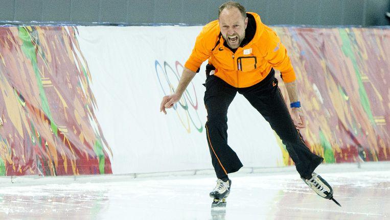 Gerard Kemkers op het olympische ijs van Sotsji. De Winterspelen waren zijn laatste grote schaatsklus. Beeld anp
