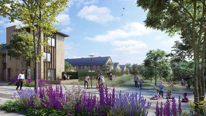 Een impressie van hoe de nieuwbouwwijk Vredeoord in Eindhoven er uit gaat zien.