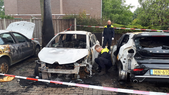 Het onderzoek bij de uitgebrande auto's in Tolhuis.