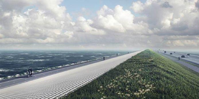 Artist impression van de nieuwe bekleding van de Afsluitdijk.