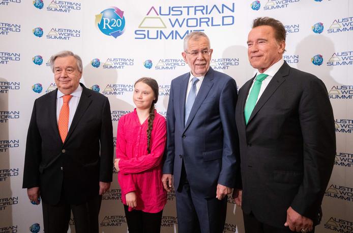 Le secrétaire général de l'ONU, Antonio Guterres, Greta Thunberg, le président autrichien Alexander Van der Bellen et Arnold Schwarzenegger.