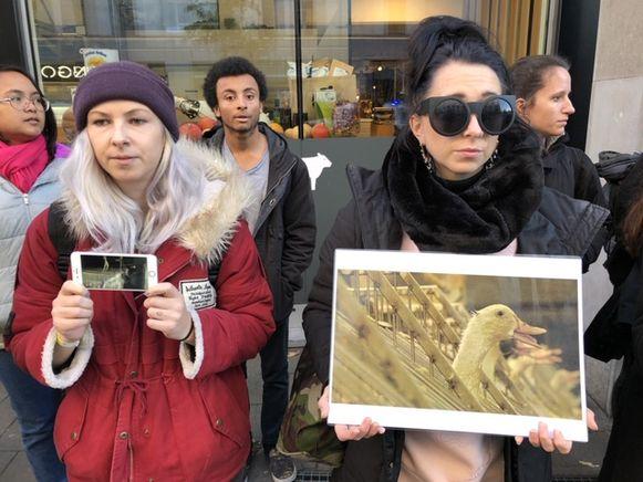 Actievoerders toonden beelden van de kwekerij.