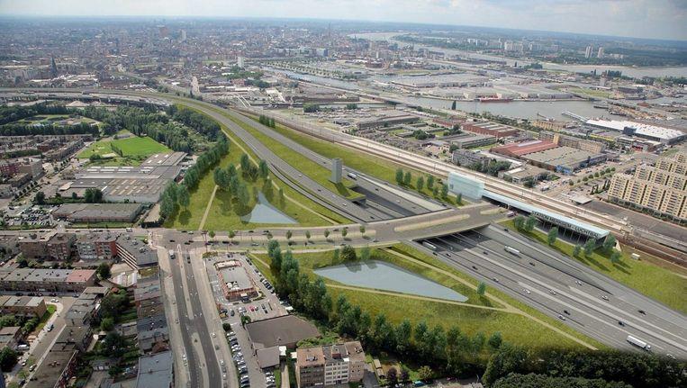 Luchtfoto van de Antwerpse luchtbalwijk.
