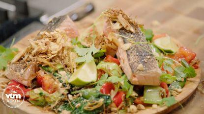 Oosters op je bord! Loïc maakt zalm met roerbakken groenten en rijstnoedels