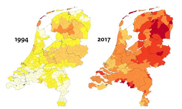 Deze vergelijking tot de groei van het aantal gevallen van Lyme in Nederland.