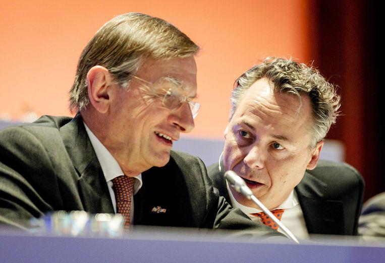 Voorzitter van de Raad van Commissarissen van ING, Jeroen van der Veer (links) en topman Ralph Hamers. Beeld ANP
