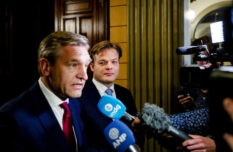 CDA'ers Buma en Omtzigt spreken met de pers. Beeld anp
