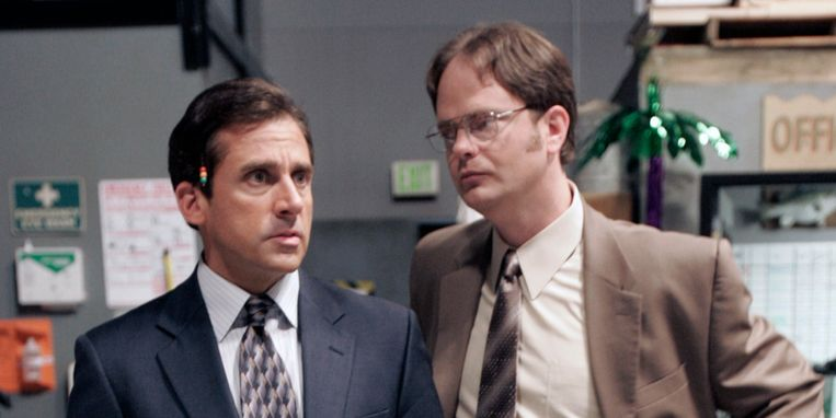 Steve Carell en Rainn Wilson in 'The Office'. Beeld NBC