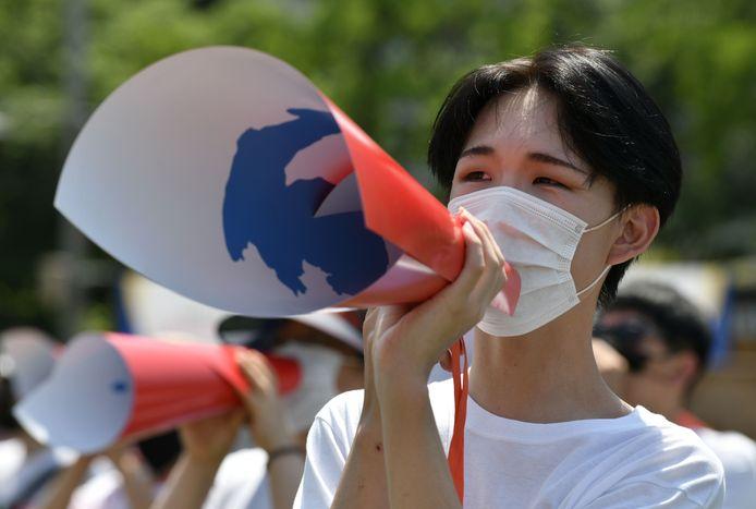 Zuid-Koreanen die een hereniging van beide landen willen demonstreren vandaag in Seoel.