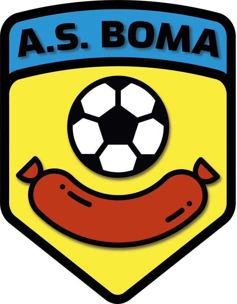Het logo van AS Boma - mét worst en voetbal.