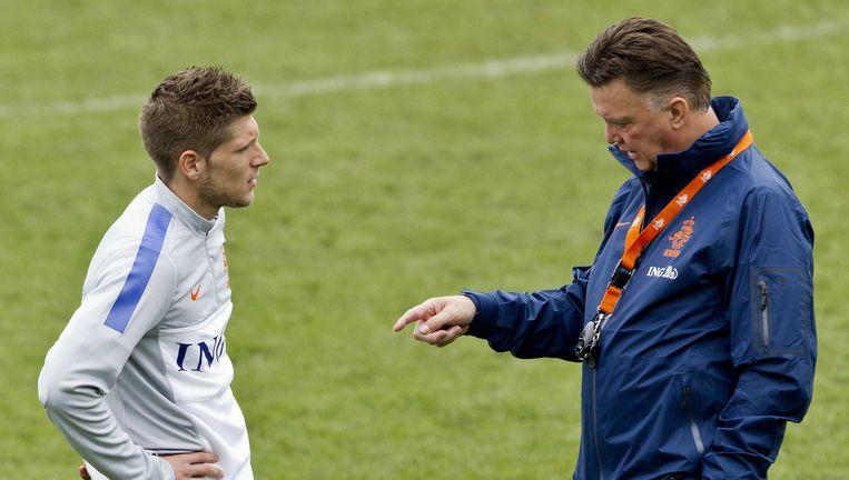 Stijn Schaars met Oranje-bondscoach Louis van Gaal.