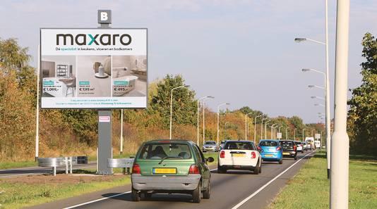 Een digitaal billboard bij de Franklin Rooseveltlaan in Breda.
