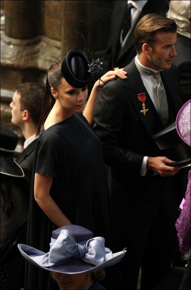 Victoria Beckham en haar man David Beckham op het trouwfeest van Prince William en Kate Middleton.