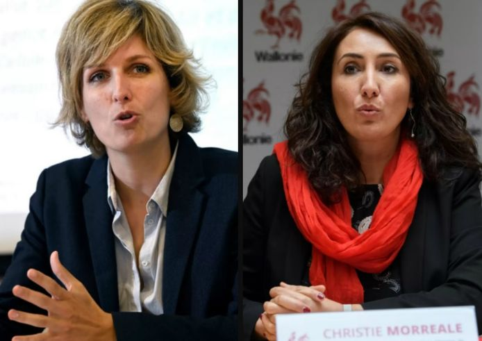 Céline Tellier (Ecolo) en Christie Morreale (PS), de twee andere vrouwen in de Waalse regering.