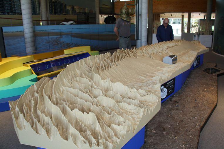 De maquette van de zandbank Westhinder