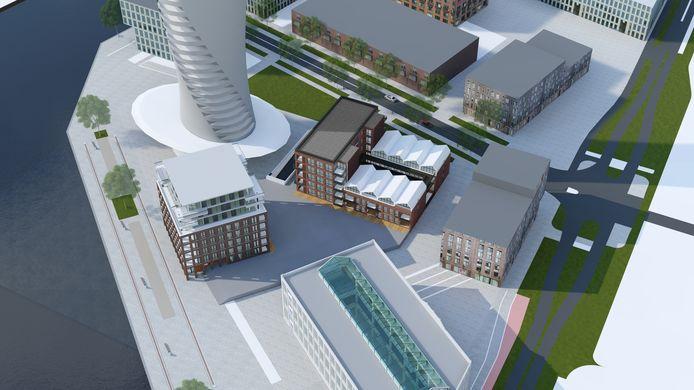 Een artist's impression van de woontorens op het toekomstige Timmerplein. Op de voorgrond de Timmerfabriek, linksachter de onderste helft van de iconische toren en daartussen de appartemententorens C Dock(links) en B Lofts (met de 'Machinefabriekdakjes').