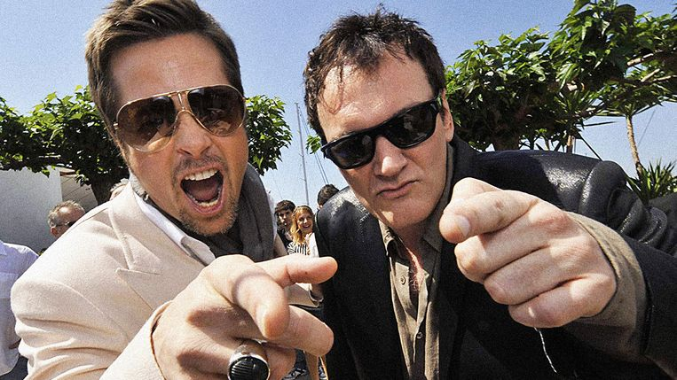 Brad Pitt en Quentin Tarantino. Beeld filmdepot