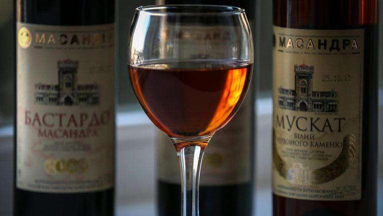 Oekraïense wijn, gepresenteerd in Jalta. Beeld EPA
