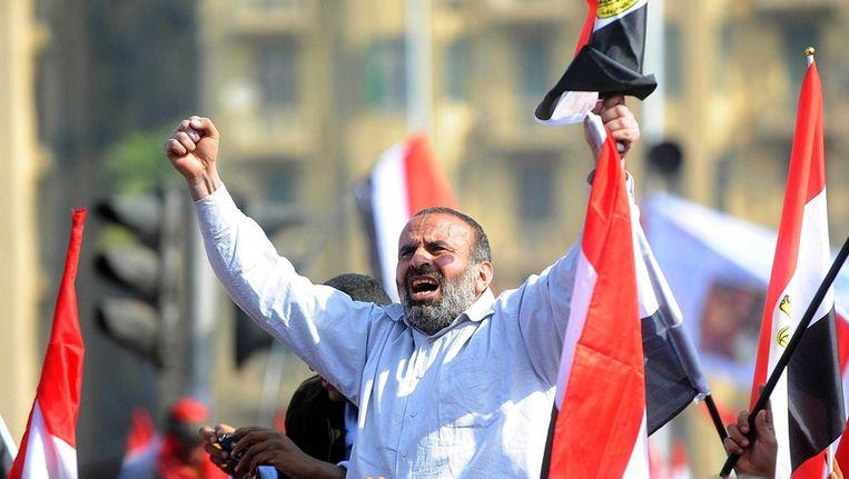 © ANP. Egypte viert '25 januari revolutie' op het Tahrirplein. Daar begonnen exact een jaar geleden de protesten die leidden tot het aftreden van president Hosni Mubarak. Beeld