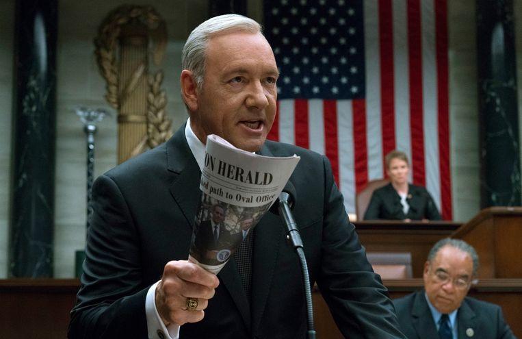 Kevin Spacey in zijn rol als Frank Underwood in de Netflix-serie House Of Cards. Beeld AP