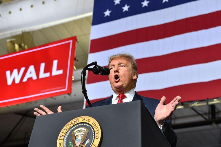 Trump enkele dagen geleden tijdens een rally in El Paso, Texas.  Beeld AFP