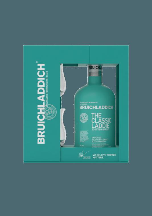 Bruichladdich Classic Laddie giftpack - Un coffret cadeau, avec deux verres à whisky. - Prix: 58 euros.