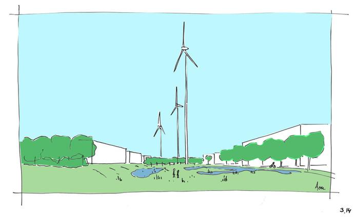 Een getekende impressie van het toekomstige bedrijventerrein, met drie hoge turbines.