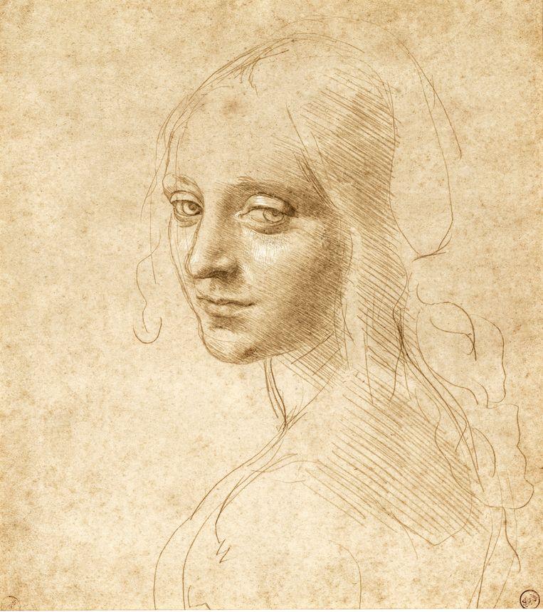 Studie van het gezicht van een jonge vrouw (ca. 1480) De mooiste tekening in de wereld? De bekende Leonardo-onderzoeker Kenneth Clark bewaart die aanduiding voor dit jonge meisje met haar raadselachtige gezicht. We herkennen haar van het schilderij De Madonna op de rotsen. Ze is een voorstudie voor de engel. Het mooie is de combinatie van snelle, rake lijnen en de diepte van haar blik. Beeld Turijn, Biblioteca Reale