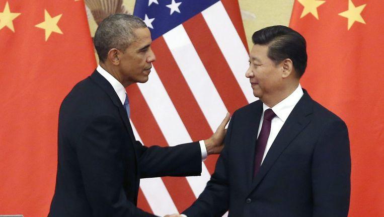President Obama en de Chinese president Xi Jinping bij een persconferentie in 2014. Beeld ANP