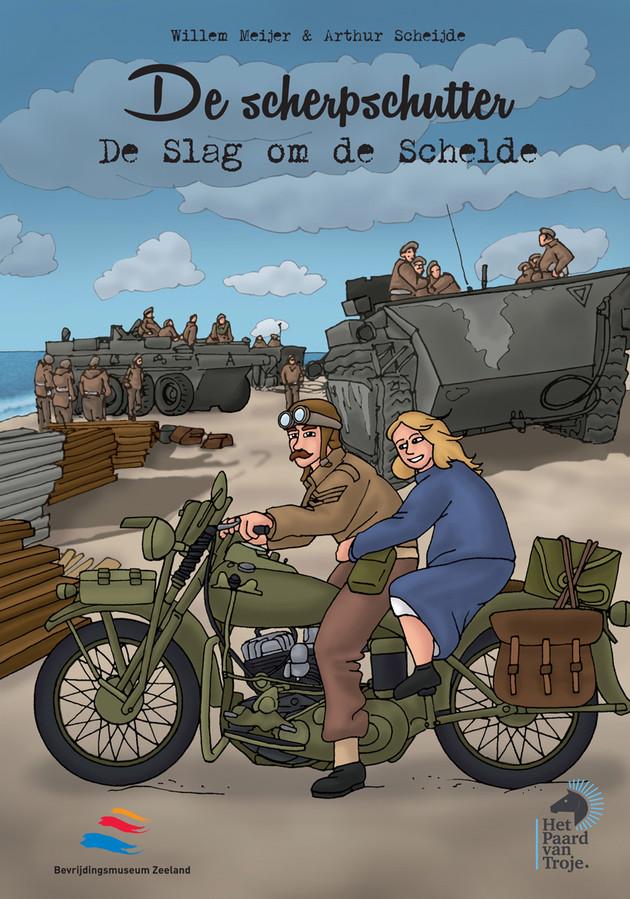 De cover van het stripboek 'De scherpschutter. De Slag om de Schelde'.