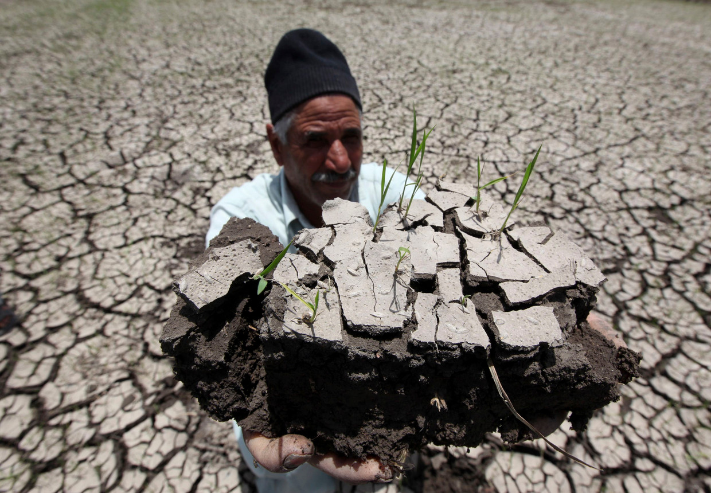 Een Egyptische boer houdt een stuk droge grond vast in Al-Dakahlya, op 120 km van Cairo.