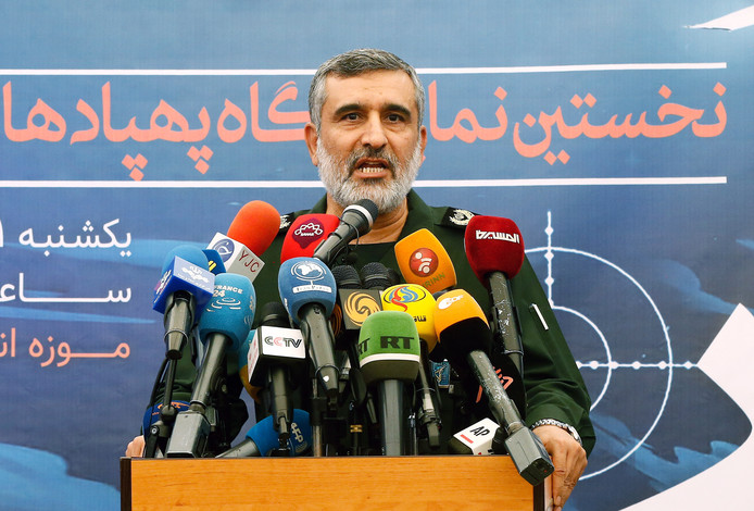 Amir Ali Hajizadeh lors de sa conférence de presse