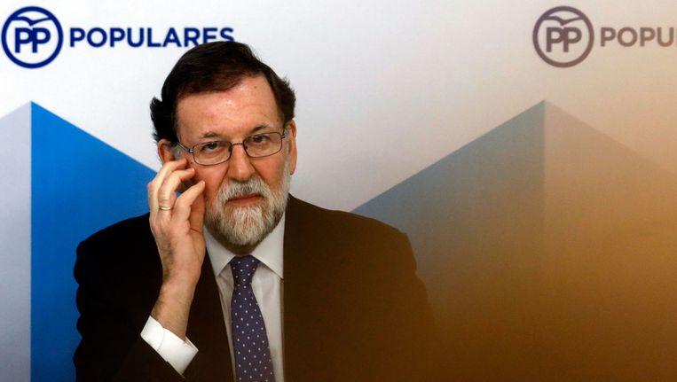 De Spaanse premier Mariano Rajoy een dag na de Catalaanse verkiezingen. Beeld afp