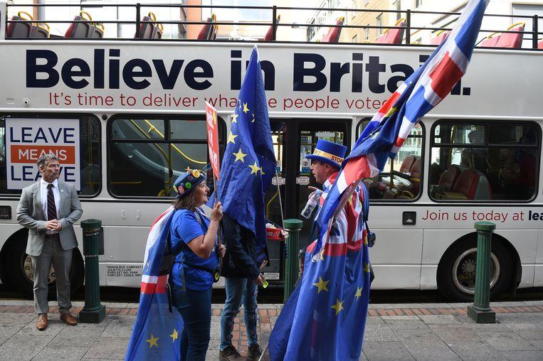 Anti- en pro-brexitbetogers in Birmingham, toen de Conservatieve Partij daar haar conferentie hield in 2018. Beeld AFP