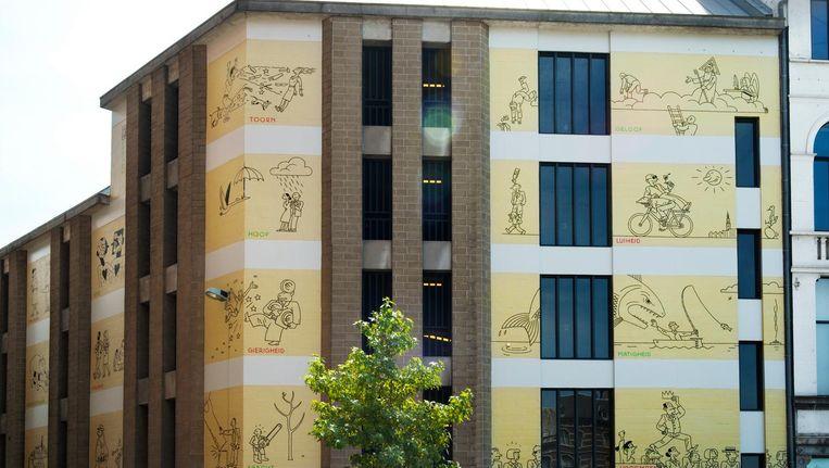 De Joost Swarte-muur in Antwerpen. Beeld Sanne Delcroix
