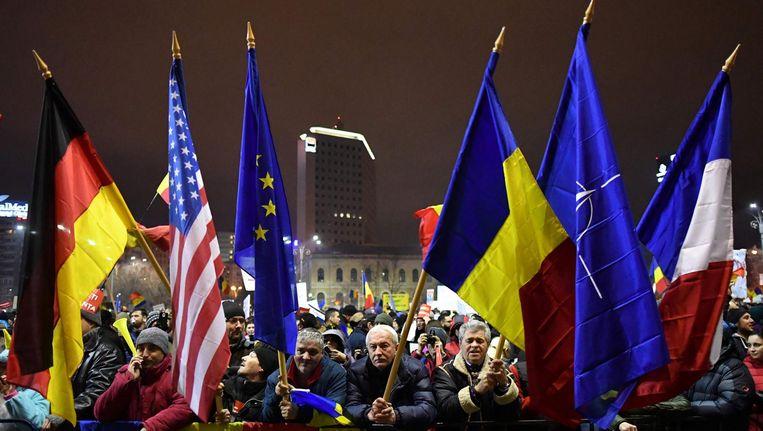 Protest in Boekarest Beeld afp