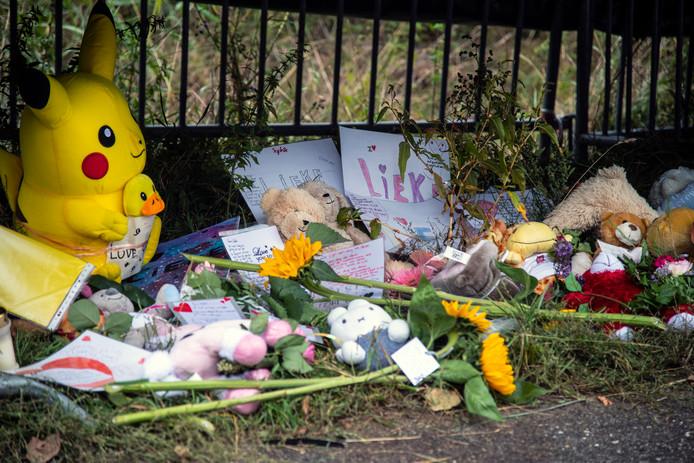 Knuffels en bloemen op de plek naast het ongeval waar Lieke Steeg overleed.