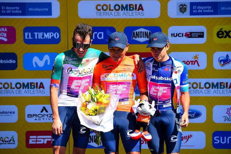 Jonathan Klever Caicedo (ECU - EF Pro Cycling), Rigoberto Uran (COL - EF Pro Cycling) en Sergio Higuita (COL- EF Pro Cycling).