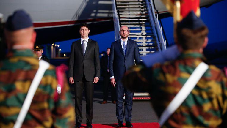 De Canadese premier Justin Trudeau bij zijn aankomst in België vorige maand