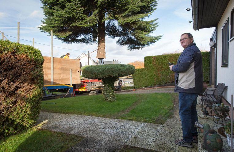 Robert Breves, in wiens tuin de boom stond, kijkt met gemengde gevoelens toe hoe zijn spar op de vrachtwagen wordt getakeld Beeld Dingena Mol