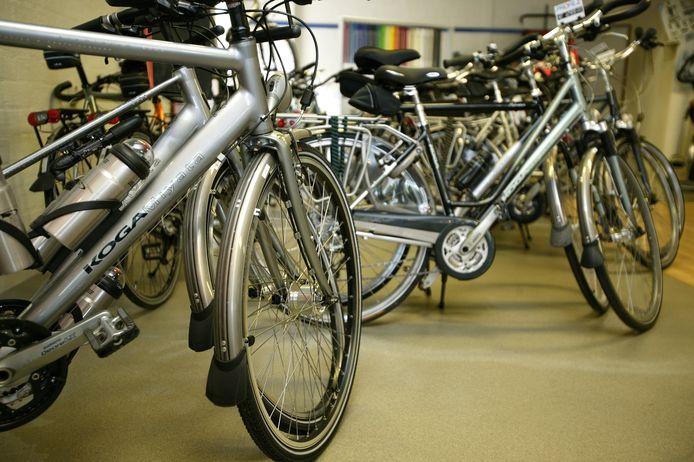 De showroom van een fietsspecialist, met onder andere fietsen van het merk Koga-Miyata.