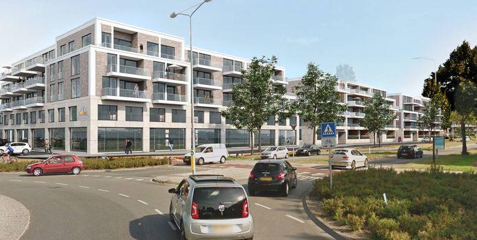 Een impressie hoe de nieuwbouw aan de rotonde van de Verkeersweg en de Hoofdweg in Harderwijk er uit komt te zien. Een exacte tekening wordt nog gemaakt door architect SVP uit Amersfoort.