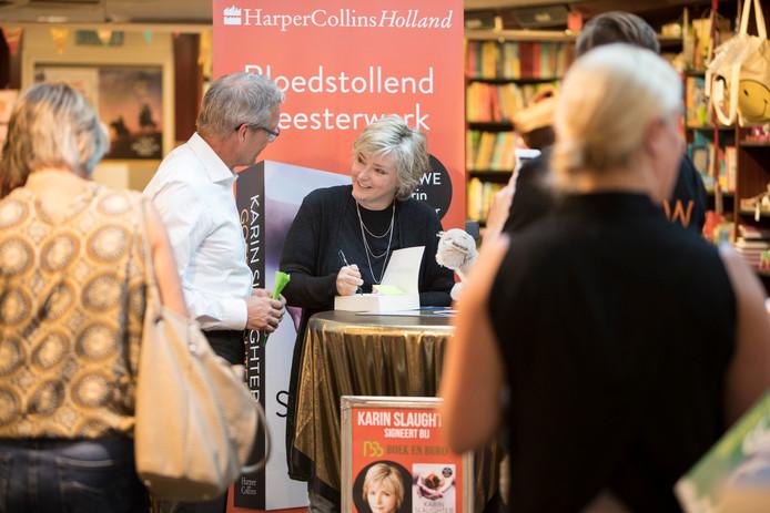 Karin Slaughter tijdens een eerder bezoek aan Nederland. Vandaag is ze in Utrecht.